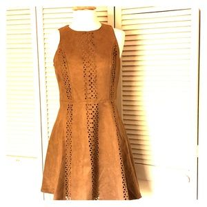 Laser cut faux suede mossimo dress size M NWT